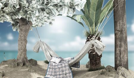 vacation savings concept hammock attached to a money tree on the background  3d render onwhite
