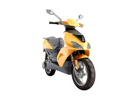Yellow moped scooter Transport wheel 3d render on white no shadow