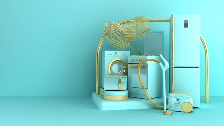 Concept de commerce de vente de fond d'appareils ménagers simple minimal sur fond de couleur pastel pour le rendu 3d de l'espace de copie