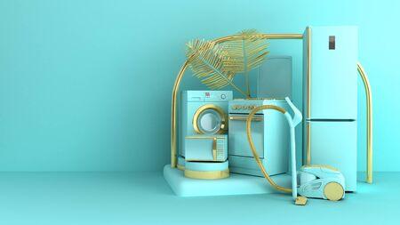 Minimales einfaches Haushaltsgerätehintergrundverkaufskonzept auf pastellfarbenem Hintergrund für Kopienraum 3D-Rendering