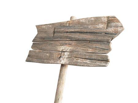 Render 3d de letrero de madera vacío aislado sobre fondo blanco