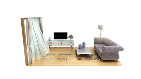 concept of a home loan or repair room on credit card 3d render on white no shadow Archivio Fotografico - 128581327
