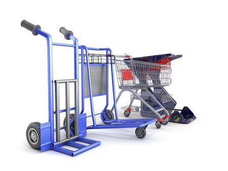 a set of supermarket trolleys for different loads 3d render on white