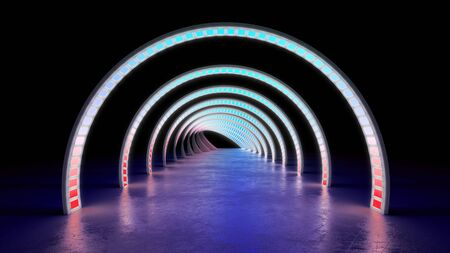 abstract minimal background white glowing cyrcle lines tunnel neon lights 3d render Archivio Fotografico - 128581339