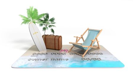 vacation savings concept payment of vouchers by card chaise lounge suitcase and palm trees stand on a credit card 3d render on white