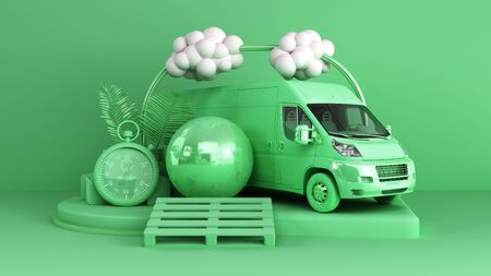 Minimal simple delivery background transportation concept on pastel color background for copy space 3d rendering Archivio Fotografico - 128581341
