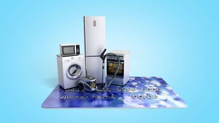 Home appliances on credit card E-commerce or online shopping concept 3d render on blue gradient Archivio Fotografico - 128581344