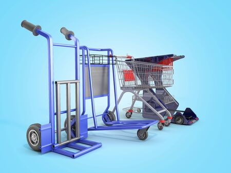 a set of supermarket trolleys for different loads 3d render on blue gradient