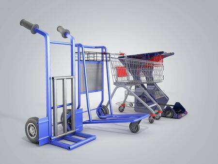 a set of supermarket trolleys for different loads 3d render on grey gradient