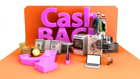 Cash back concept background big letters on tematic podium 3d render image on white