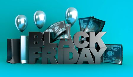 Black Friday concept background big letters with golden balls and 3d render image on blue background