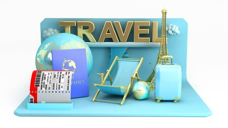 Minimal simple travel podium holidays vacation and Airplane travel concept 3d rendering