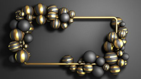 abstract background gold frame on a black background with striped elegant balls 3d render