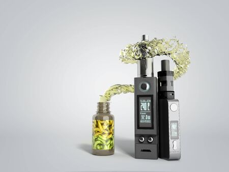 Electronic cigaretts Device box mod to smokeless smoking 3d render on grey gradient Stock fotó - 131084376