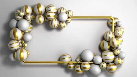 abstract color frame as background with striped elegant balls 3d render image