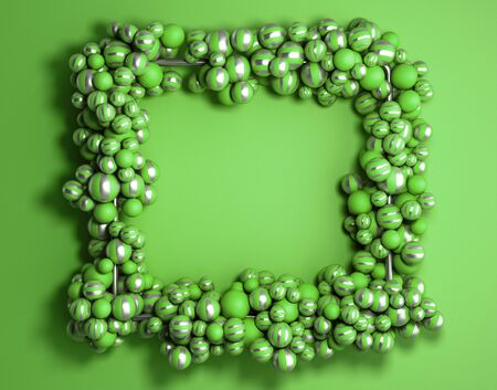 abstract background green frame as background with striped elegant balls 3d render