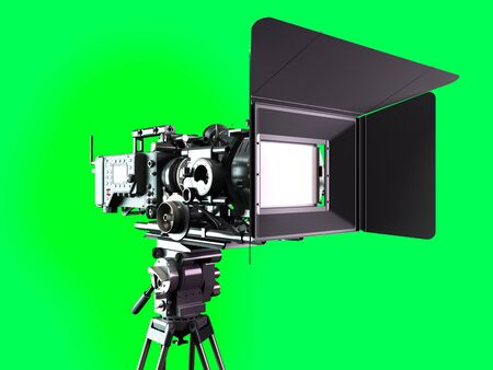 proffesional video camera 3d render on green screen