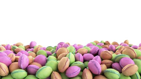 macro multicolored french macaroon 3d render image