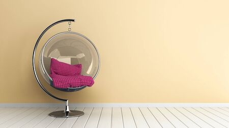 hanging chair in the room 3d render image