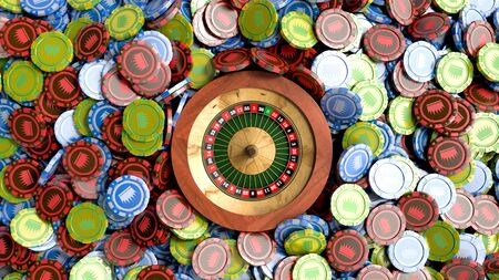different color casino chips as background 3d render objects