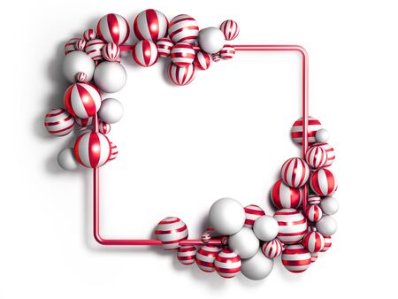 abstract light color frame as background with striped elegant balls 3d render image