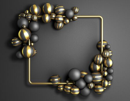 abstract darck color frame as background with striped elegant balls 3d render image Stock fotó
