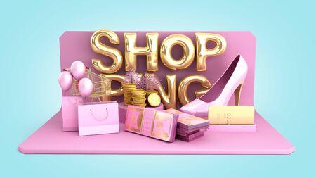 minimalistic shopping background shopping podium 3d render on blue background Reklamní fotografie