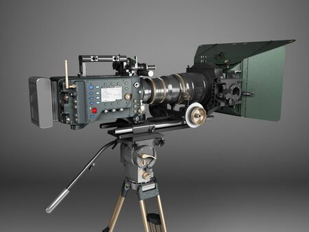 proffesional video camera 3d render on grey gradient