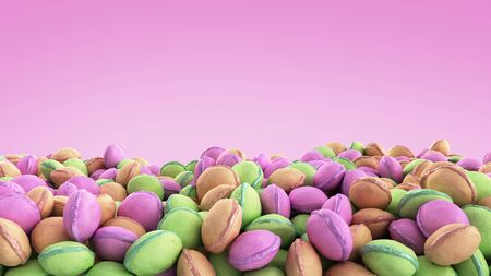 macro multicolored french macaroon 3d render image on color background