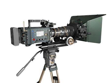 proffesional video camera 3d render on white gradient
