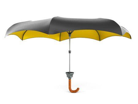 Opened two tone umbrella 3d render on white gradient 写真素材