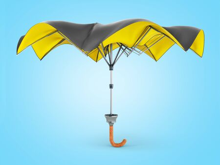 Opened two tone umbrella 3d render on blue gradient