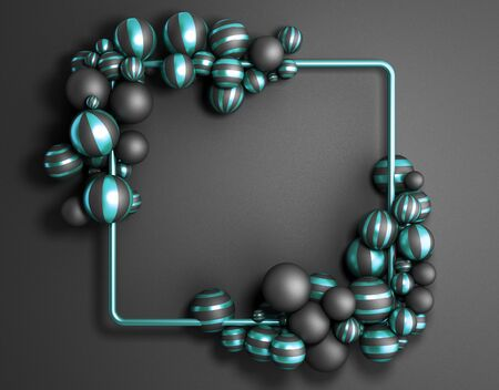 Abstract dark color frame as   with striped elegant balls Stock Photo