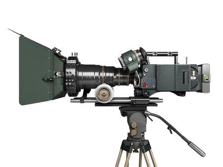 Cámara de vídeo profesional 3D Render sobre blanco