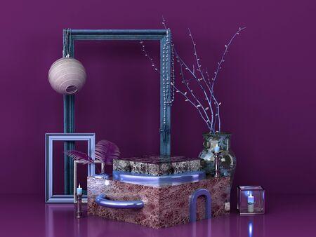 marble podium for product presentation 3d remder image