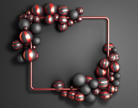 Abstract dark color frame as  with striped elegant balls 3d render image 免版税图像