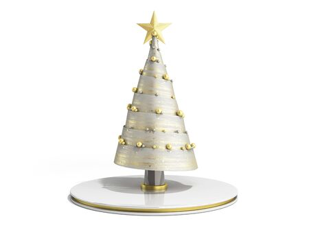 single new year decorative Christmas tree 3d render on white 写真素材