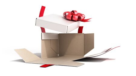 White open Square Gift Box with Red Ribbon and Bow 3d render on white