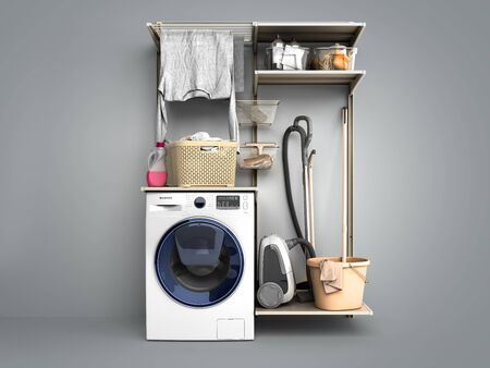 Washing machine and clothes 3d render on grey gradient background