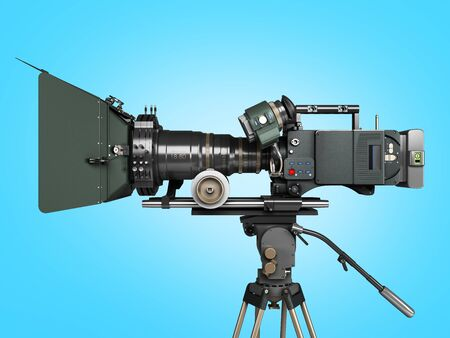 proffesional video camera 3d render on blue gradient