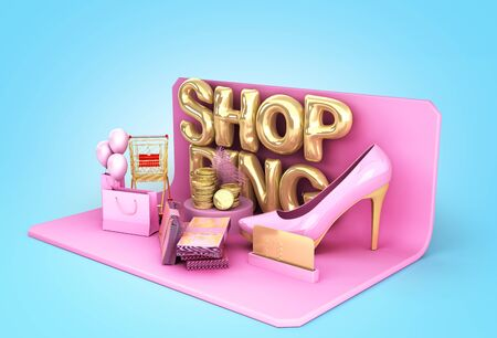 minimalistic shoping background shopping podium 3d render on blue gradient background