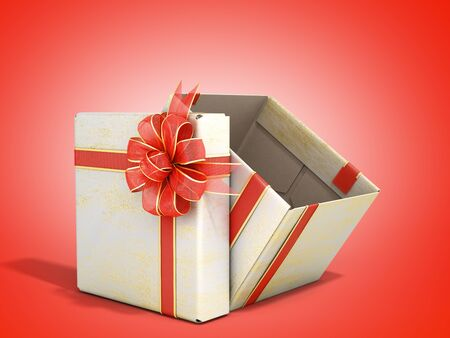 White open Square new year Gift Box with Red Ribbon and Bow 3d render on red gradient 写真素材