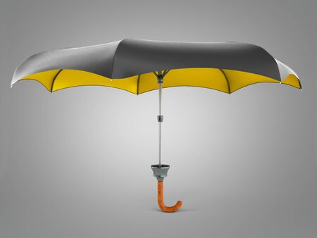 Opened two tone umbrella 3d render on grey gradient