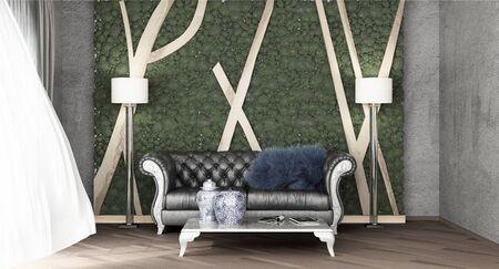 living room interior background 3d render image  写真素材