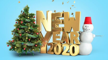new year 2020 Christmas tree background 3d render on blue gradient 写真素材