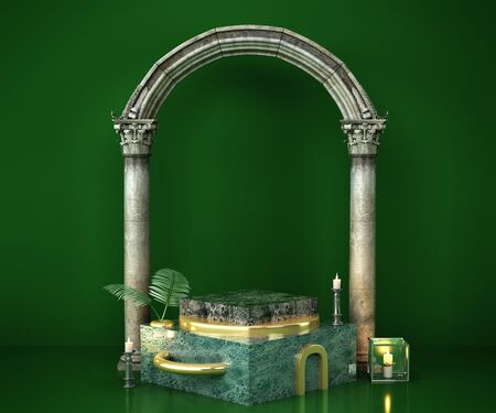 green marble podium for product presentation 3d remder image 写真素材