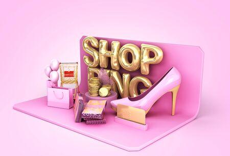 minimalistic shoping background shopping podium 3d render on color gradient background Reklamní fotografie