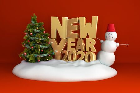 new year 2020 Christmas tree background on snow podium 3d render on red gradient Фото со стока