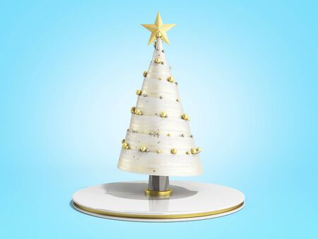 single new year decorative Christmas tree 3d render on blue gradient