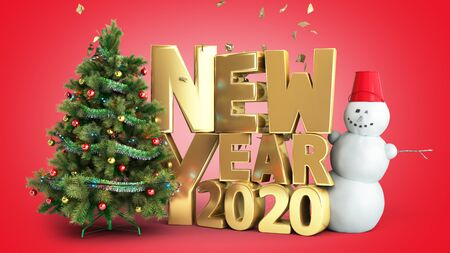 new year 2020 Christmas tree background 3d render on red gradient